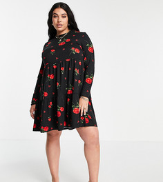 Свободное ярусное платье с принтом роз Simply Be-Многоцветный
