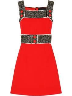 Dolce & Gabbana креповое платье с твидовыми вставками