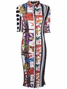 Versace плиссированное платье-рубашка с принтом Trésor de la Mer