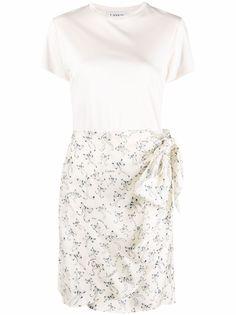 LANVIN юбка с цветочным принтом и завязками сбоку