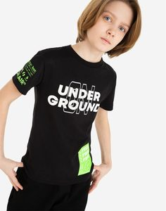 Чёрная футболка с принтом Under ground для мальчика Gloria Jeans