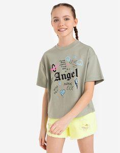Хаки футболка с принтом Angel для девочки Gloria Jeans
