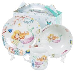 Набор детской посуды из фарфора Daniks Русалка, 3 предмета (кружка 230 мл, тарелка 175 мм, салатник 150 мм)