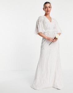 Свадебное платье с расклешенными рукавами и отделкой ASOS EDITION Eliza-Белый