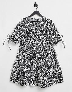 Ярусное платье мини со звериным принтом Influence-Многоцветный