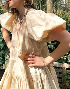 Свободное ярусное платье мини из хлопка светло-бежевого цвета ASOS DESIGN-Светло-бежевый