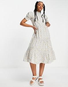 Чайное платье миди из хлопкового поплина с цветочным принтом Influence-Многоцветный