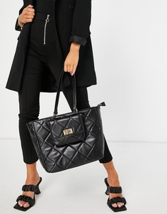 Черная стеганая сумка-тоут со съемной сумочкой ALDO Iboecia-Черный цвет