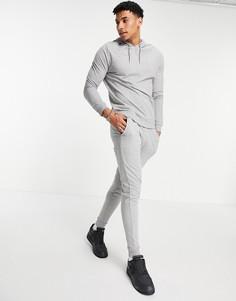 Легкий спортивный костюм из худи и зауженных джоггеров ASOS DESIGN-Серый