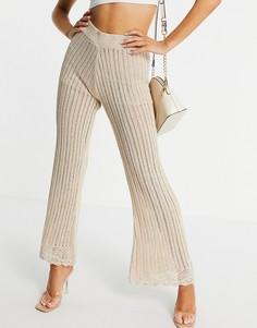 Золотистые трикотажные брюки кроше с широкими штанинами (от комплекта) River Island-Золотистый