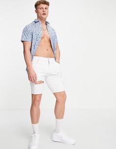Рубашка с цветочным принтом и короткими рукавами Selected Homme Kenny-Голубой