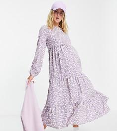 Фиолетовое ярусное платье макси с присборенной юбкой и цветочным принтом Pieces Maternity-Многоцветный