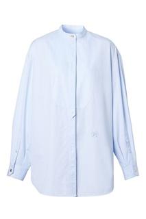 Голубая оверсайз рубашка из хлопка Burberry