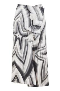 Черно-белая льняная юбка Acne Studios