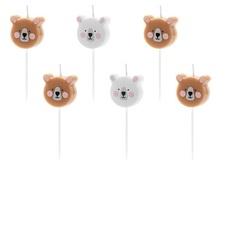 Свеча праздничная Party Deco медведь 3см 6шт в ассортименте