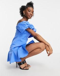 Голубое платье мини в стиле бандо с объемными рукавами и юбкой-годе ASOS DESIGN-Голубой