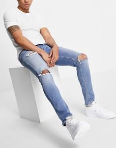 Голубые выбеленные джинсы скинни со рваной отделкой ASOS DESIGN, изготовленные с уменьшенным расходом воды-Голубой