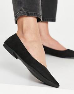 Черные балетки с заостренным носком ASOS DESIGN-Светло-бежевый