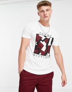Белая футболка с квадратным принтом логотипа Tommy Hilfiger Dazzle-Белый