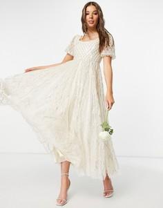 Свадебное платье мидакси цвета слоновой кости с серебристой отделкой в клетку Needle & Thread-Серебристый