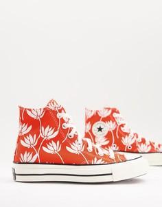 Высокие красные кроссовки с принтом Converse Chuck 70-Красный