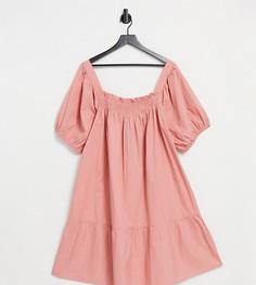 Терракотовое платье мини из хлопкового поплина с пышными рукавами Influence Plus-Оранжевый цвет