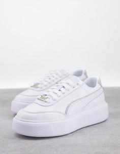 Белые кроссовки с серебристыми вставками Puma Oslo Maja-Серебристый