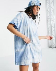 Голубая футболка-платье в стиле oversized с принтом тай-дай Bershka-Голубой