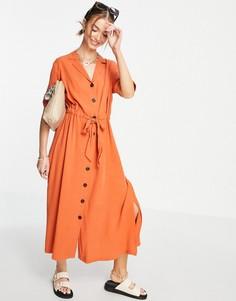 Оранжевое платье миди на пуговицах Selected Cally-Оранжевый цвет