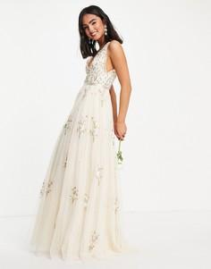 Свадебное платье макси цвета слоновой кости с цветочной вышивкой Needle & Thread Petunia-Белый