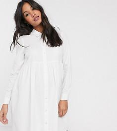 Белое свободное хлопковое платье-рубашка мини ASOS DESIGN Maternity-Белый