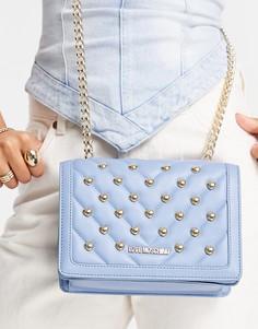 Голубая сумка на цепочке с заклепками Love Moschino-Голубой