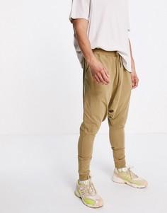 Легкие джоггеры песочного цвета с заниженным шаговым швом ASOS DESIGN-Зеленый цвет