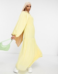 Желтое ярусное платье макси с объемными рукавами и присборенным лифом ASOS DESIGN-Желтый