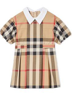 Burberry Kids платье в клетку Vintage Check с объемными рукавами