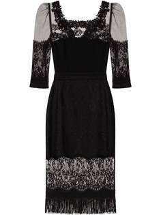 Dolce & Gabbana платье с квадратным вырезом и кружевной вставкой