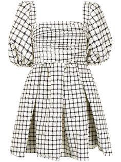 Self-Portrait клетчатое платье с объемными рукавами