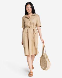 Бежевое платье-рубашка с поясом Gloria Jeans