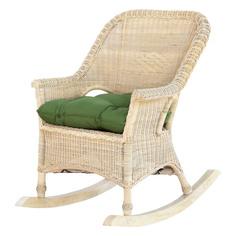 Кресло-качалка Rattan grand white wash подушками