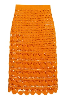 Оранжевая плетеная юбка Acne Studios