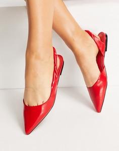 Красные балетки с перекрученным ремешком на пятке ASOS DESIGN Lone-Красный