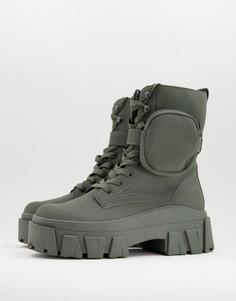 Высокие ботинки цвета хаки на шнуровке из искусственного нубука с массивной подошвой и ремешком ASOS DESIGN-Зеленый цвет