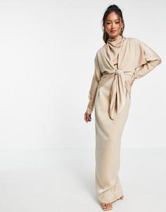 Платье макси с рукавами «летучая мышь» и завязкой спереди ASOS DESIGN-Серый