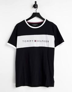 Черная футболка для дома с фирменной полоской на груди Tommy Hilfiger-Черный цвет