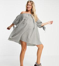 Ярусное платье мини в клетку цвета хаки с открытыми плечами и рукавами на завязках ASOS DESIGN Maternity-Многоцветный