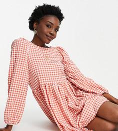 Фактурное платье мини в красную клетку с присборенной юбкой и ремешками на спине ASOS DESIGN Tall-Многоцветный
