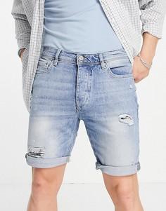 Синие выбеленные джинсовые шорты узкого кроя со рваной отделкой River Island-Голубой