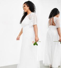 Свадебное платье с расклешенными рукавами и цветочной вышивкой ASOS EDITION Curve Annie-Белый
