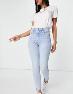 Светло-голубые джинсы скинни с завышенной талией, необработанным краем и отворотами River Island-Голубой