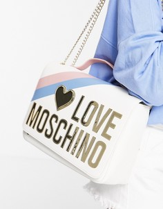 Белая сумка на цепочке Love Moschino-Белый